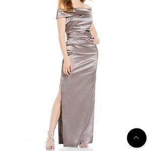 Vince Camuto Off-the Shoulder Satin Gown